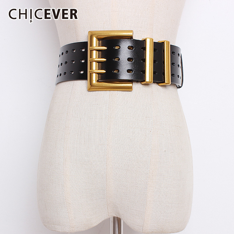 CHICEVER Autumn Vintage Fashion Cowskin Leather   Belts   Female Hollow Out Wide   Belts   For Women Korean Style Tide 2018