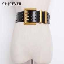 CHICEVER cinturones de cuero de vaca Estilo Vintage para mujer, cinturones femeninos anchos con agujeros, estilo coreano, 2020