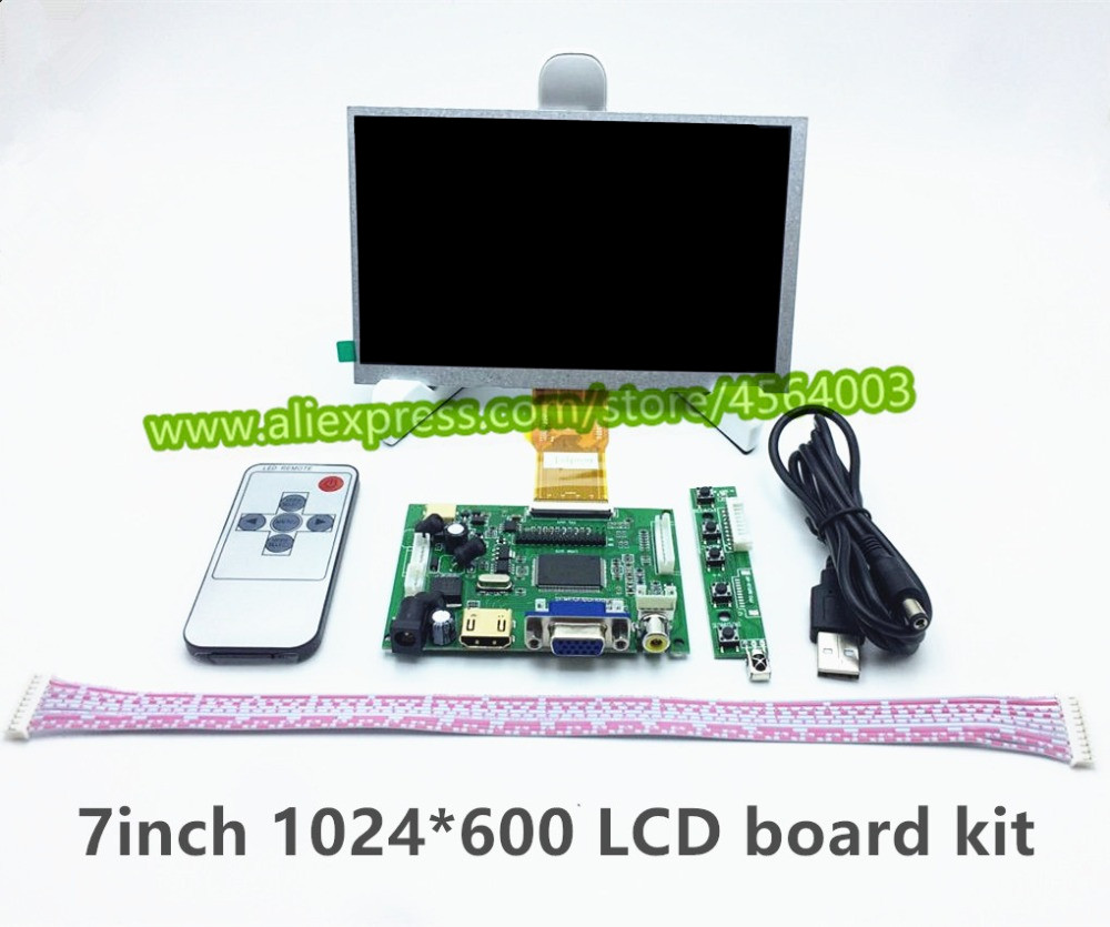 7 Inch High Resolution 1024*600 LVDS Raspberry Pi 7300101463 E231732 LCD Display Monitor Driver Board Control HDMI VGA 2AV Kit