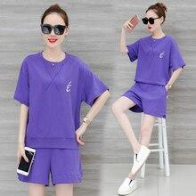 2019 suits summer fashion embroidered loose hot short pants Korean fashion cotton short sleeve sweatshirt shorts leisure two-pcs недорого