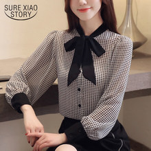 9a431e243 Tops y blusas de Mujer Camisas Cool temperament bow houndstooth chiffon  shirt mujer linterna camisa de
