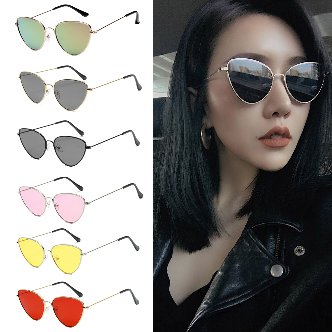 Women Yellow Red Lens Sun glasses Fashion Light Weight Sunglass For Woman Fashionable Joker Retro Cat Eye Sunglasses in Women 39 s Sunglasses from Apparel Accessories