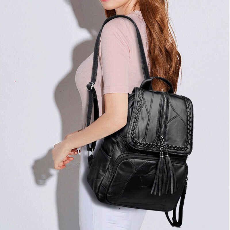 חדש נשים ליידי פו עור תרמיל תרמיל כתף תיק Tassle ילקוט בית ספר שקיות שחור