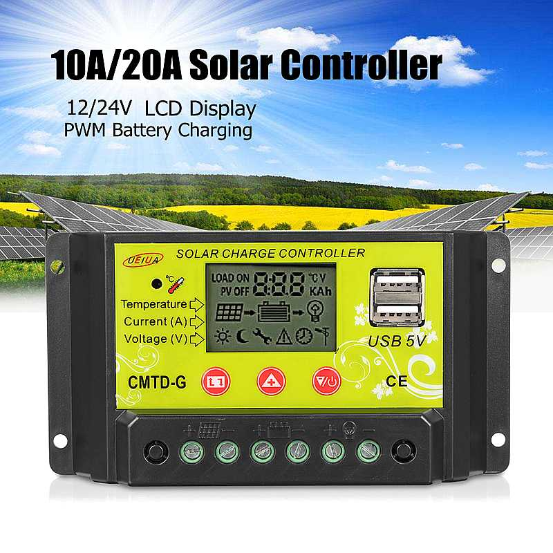 10A/20A PWM Solar Charge Controller Dual USB LCD Display 12V 24V Auto Solar Panel Charger Regulator with Load10A/20A PWM Solar Charge Controller Dual USB LCD Display 12V 24V Auto Solar Panel Charger Regulator with Load