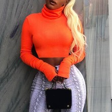 AINYFU Women Turtleneck Long Sleeve Slim Sexy T Shirt  Spring summer Casual Solid Color Fashion Wild Short Tops 351