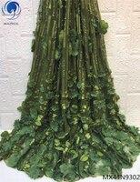 Красивая зеленая Свадебная кружевная ткань вышивка цветок 3d кружевной ткани бисером французские кружевные ткани 2019 для женщин MX44N93