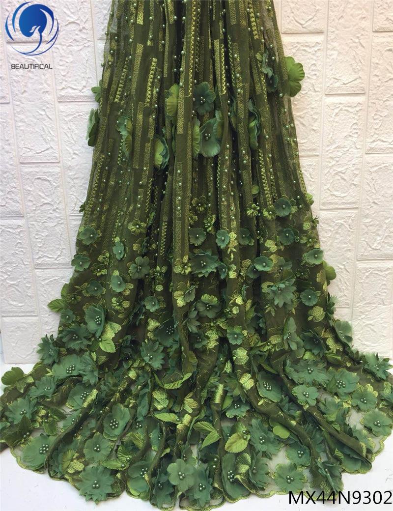 아름 다운 녹색 신부 레이스 패브릭 embroiderd 꽃 3d 레이스 패브릭 페르시 프랑스 레이스 직물 2019 여자 mx44n93-에서레이스부터 홈 & 가든 의  그룹 1