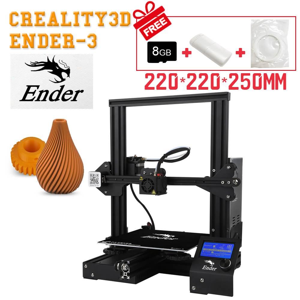 Pro Criatividade Ender-3 V-slot I3 3D Kit Tecnologia FDM Impressora MK10 Extrusora Bico 1.75 milímetros 0.4 milímetros 220 x 220x250mm Tamanho 3D Impressora