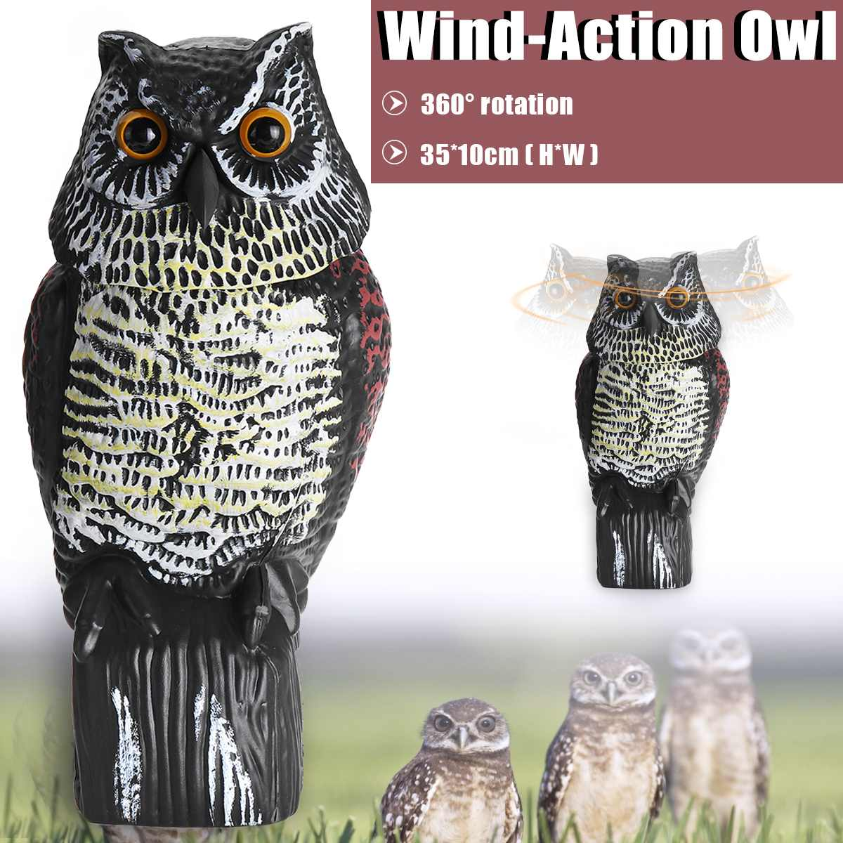 Realistic Bird Scarer Rotating Head Owl Decoy Protection Repellent Bird Pest Control Scarecrow Garden Yard DecorRealistic Bird Scarer Rotating Head Owl Decoy Protection Repellent Bird Pest Control Scarecrow Garden Yard Decor