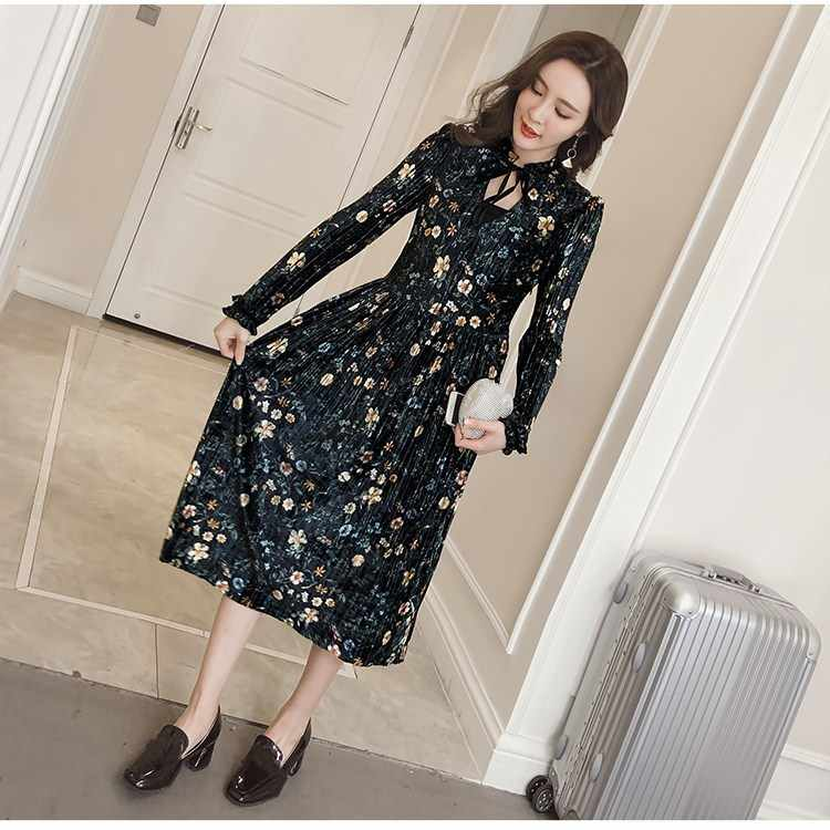 f124f92c5cfca Spring Elegant Floral Print Midi Dress Casual Ruffles Trim Long Sleeve Bow  Tie Dress Vintage Pleated Velvet O-Neck Party Dress