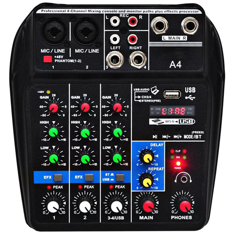 Eu Plug A4 Sound Mixing Console Bluetooth Usb Record Computer Playback 48V Phantom Power Delay Repaeat Effect 4 Channels Usb A