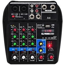 Ue plug a4 som mixagem console bluetooth gravação usb reprodução do computador 48v phantom atraso de energia efeito repaeat 4 canais usb a