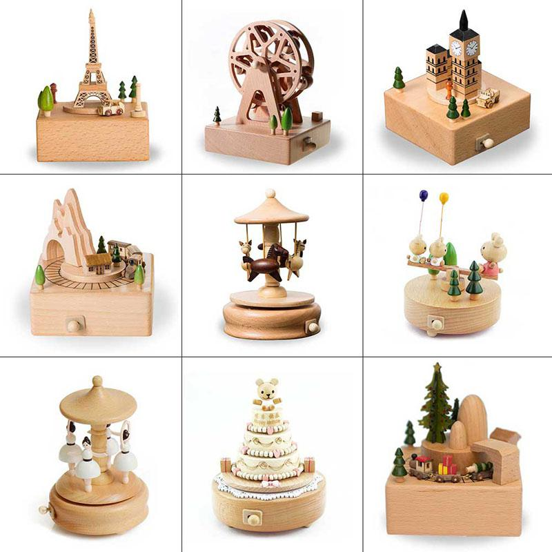 Toys For Baby Wooden Musical Box Kids Birthday Cake Music Box Happy Birthday Gifts