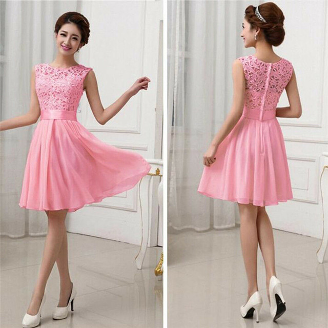 Women's party dress Slim wild lace tulle high waist round neck solid color temperament dress