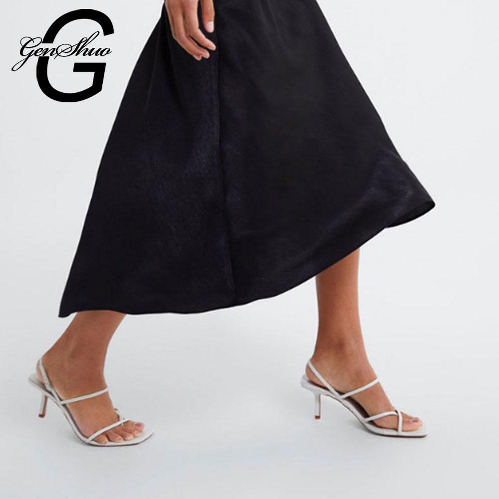GENSHUO Weiß High Heels Sandalen Für Sommer Schmale Band High Heel Vintage Quadratischen Zehe Ferse Sandalen Concise Damen Shes Für party