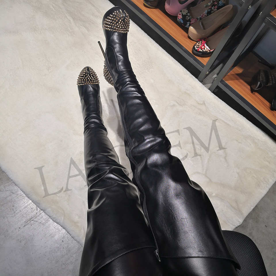 LAIGZEM STILVOLLE Frauen Über die Knie Stiefel Besetzt Wasserdichte Plattform High Heels Oberschenkel Hohe Stiefel Botines Mujer Big größe 4 19