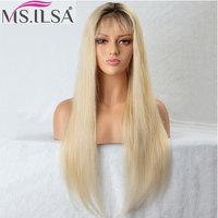 Синтетические волосы на кружеве натуральные волосы Искусственные парики для черный для женщин Ombre 613 блондинка натуральный прямой 150% плотн