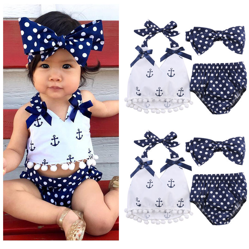 Pudcoco Giel Set New Baby Girl Clothes Anchor Tops+Polka Dots Briefs Outfits Set Sunsuit 0-24M AU