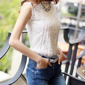 Image 3 - Kadın ofis bayan dantel bluz yaz sonbahar kolsuz beyaz bluz Femme standı yaka iş elbisesi Blusas Tops Verano Mujer 2020