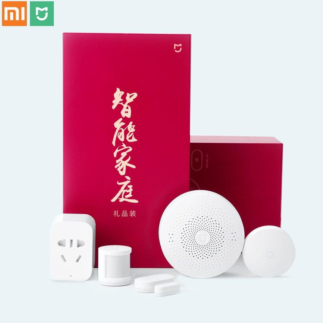 Xiaomi Mijia 5 en 1 Kit maison intelligente passerelle multifonctionnelle capteur de corps de fenêtre commutateur sans fil Zigbee Socket Kit de sécurité à domicile