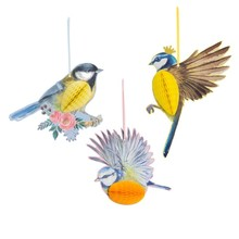 Spring Tea Party Tropical Hawaiian Decorations 3pcs/set Hanging 3D Vivid Honeycomb Bird Wedding Birthday