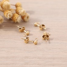 Badu 4mm Gold Stud Stainless Steel Round Ball Shape Base Earring Connector For DIY Jewelry Earrings Accessories