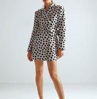 2019 Women Spot Print Dress Long Blazer Jackets Sashes Casual Outerwear Fashion Long Sleeve Vintage Coats