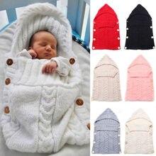 Для новорожденных вязаный шерстяной крючком спальный мешок Кнопка пеленать обертывание пеленание одеяло с шапкой мягкие теплые аксессуары для новорожденных