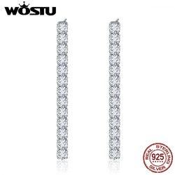 Женские серьги-гвоздики WOSTU, высокое качество, 100% Стерлинговое Серебро 925 пробы, с прозрачным фианитом, модные ювелирные изделия, подарок, ...
