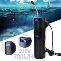 Multi function 4 in 1 700L/H Aquarium Filter Air Pump 3W UV Ultraviolet Germicidal lamp Water Fish Tank Pond Sterilizing Light