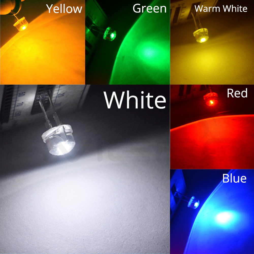 10PCS Green 0.5W 8mm Straw Hat High-power Green LED Leds Light Lamp StrawHat NEU