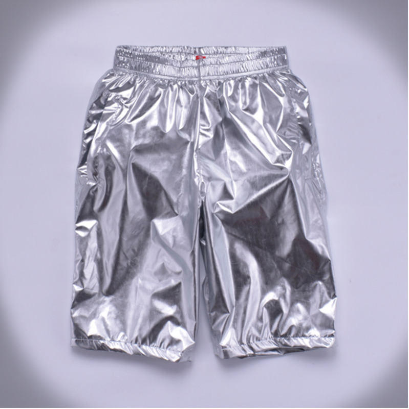 Plus Size 8XL Summer Men Loose Silver Shorts Male Casual Shiny Jogger Sweatpants Men Motorcycle Metallic Short Pants A9051