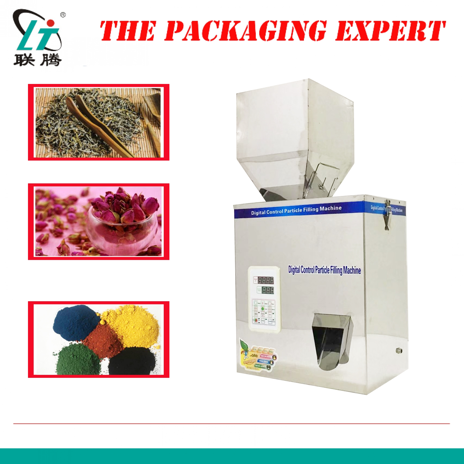 500model Scale Herb Filling And Weighing Machine Tea Leaf Grain Medicine Seed Salt Rice Packing Machine Big Particle Filler