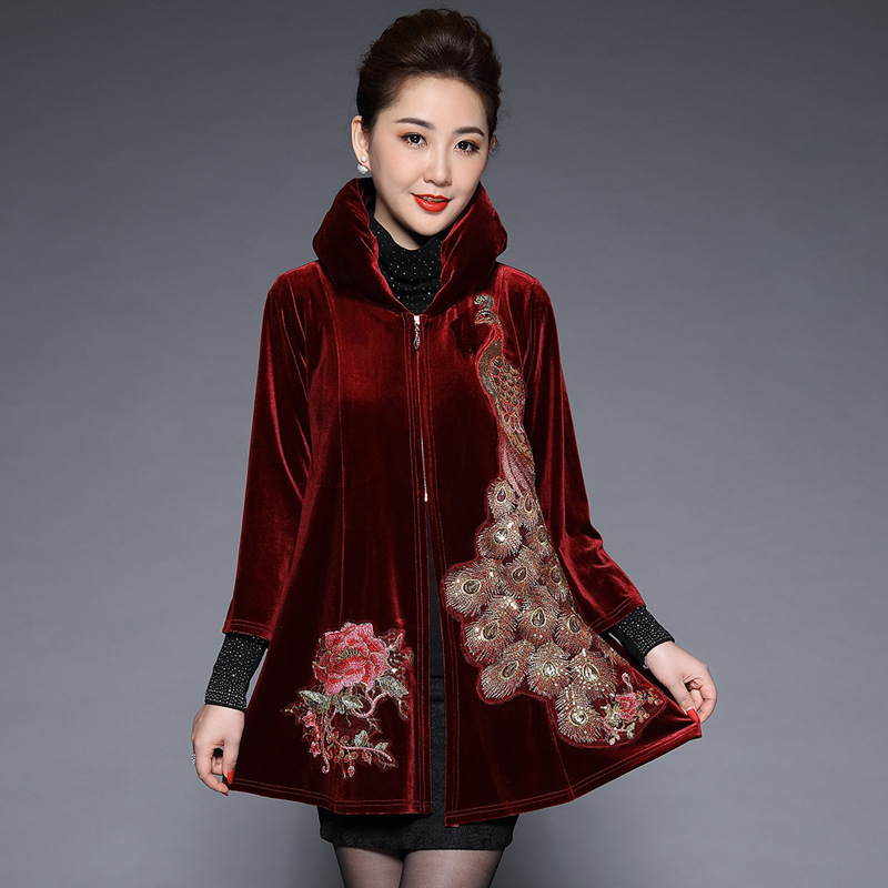 Autumn Winter Women Coat Stand Collar Slim Long Sleeve   Trench   Coats Elegant Floral Embroidery Female Outwear Plus Size M-5XL