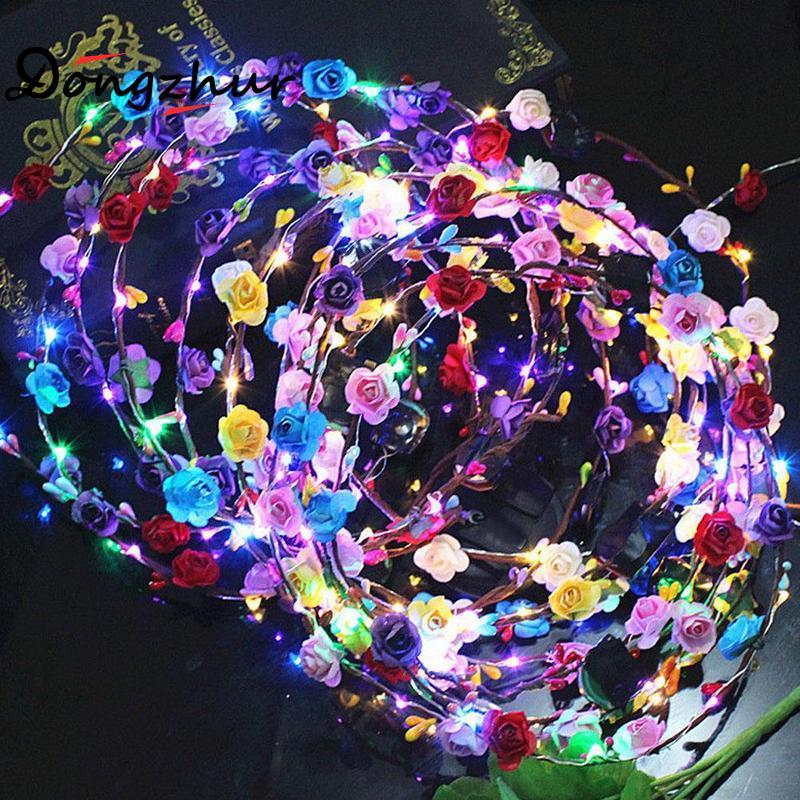 1pcs Flashing Led Glowing Flower Crown Headbands Luminous Light Party Hair Garland Wreath Band Fgw0631