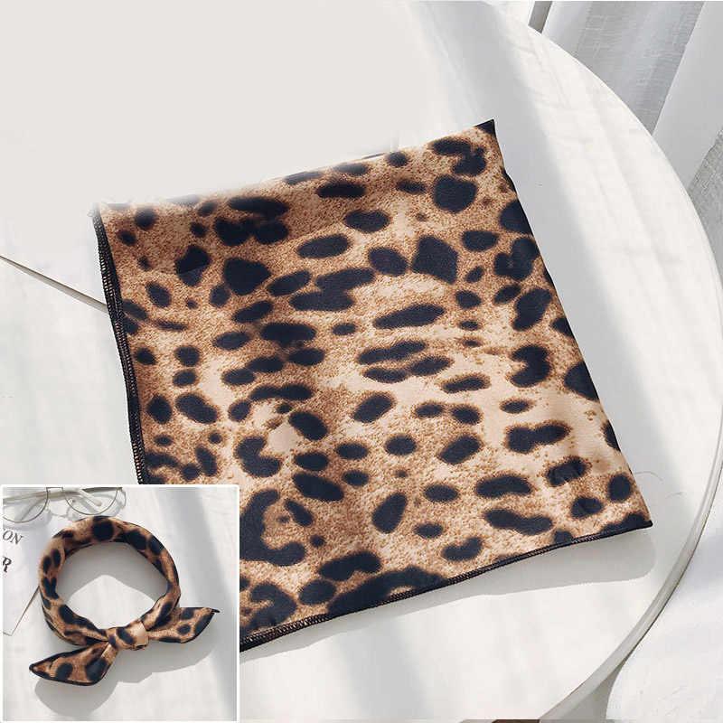 Повязка для волос, квадратный шарф, Feel Silk, шейный, маленький, винтажный, женский, сатиновый, элегантные, леопардовые