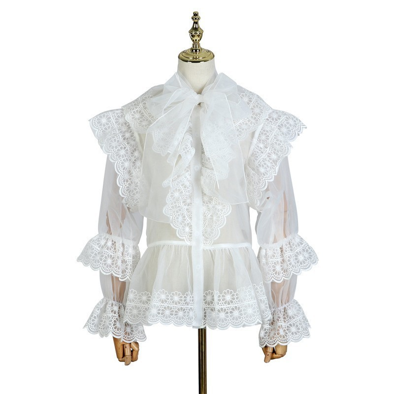 Volantes Patchwork Mujer white Blusa Tamaño Plus Perspectiva 2019 Okq139 Vintage Suelto Bowknot De Black Primavera Camisetas Vaciamiento Camisas Encaje dvwx4Aq