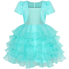 цена на Girls Dress 2-in-1 Bolero Turquoise Birthday Party Dress 2020 Summer Princess Wedding Dresses Children Clothes Pageant Sundress