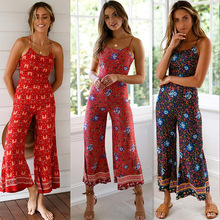 2019 Boho Sweet Floral Sexy Print Jumpsuit Backless Summer Women Retro Causal Beach Rompers Playsuit black jumpsuit
