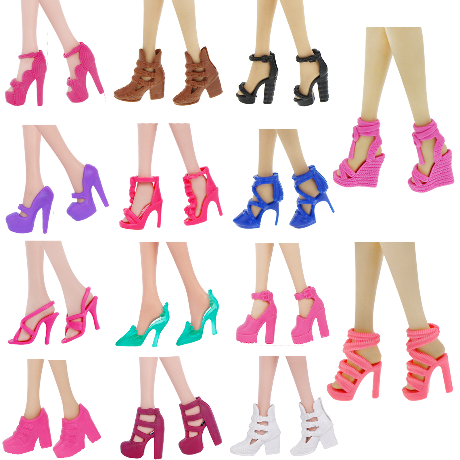 Randomly 40 Pairs Doll Shoes Assorted Colorful Heels for doll Outfit Dress /_7