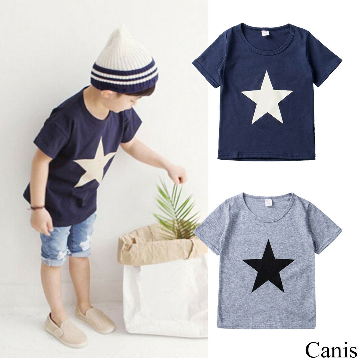 Short Sleeve Star Print T Shirt Top For Toddler And Baby Boy Summer Tees
