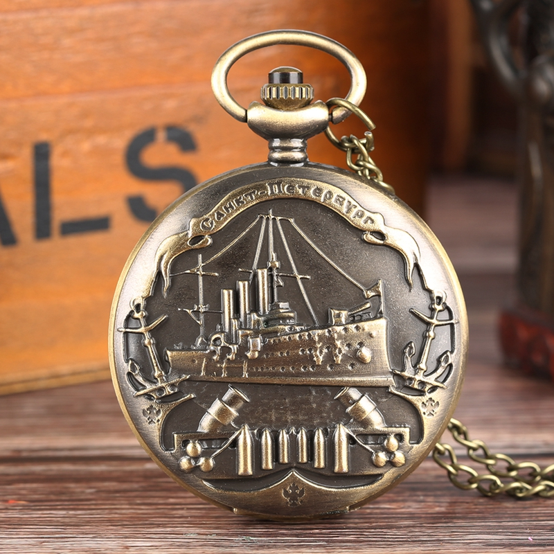 Retro Bronenosets Potemkin Quartz Pocket Watch 3D Warship Pattern Necklace Pendant Souvenir Gifts For Men Women Collectibles