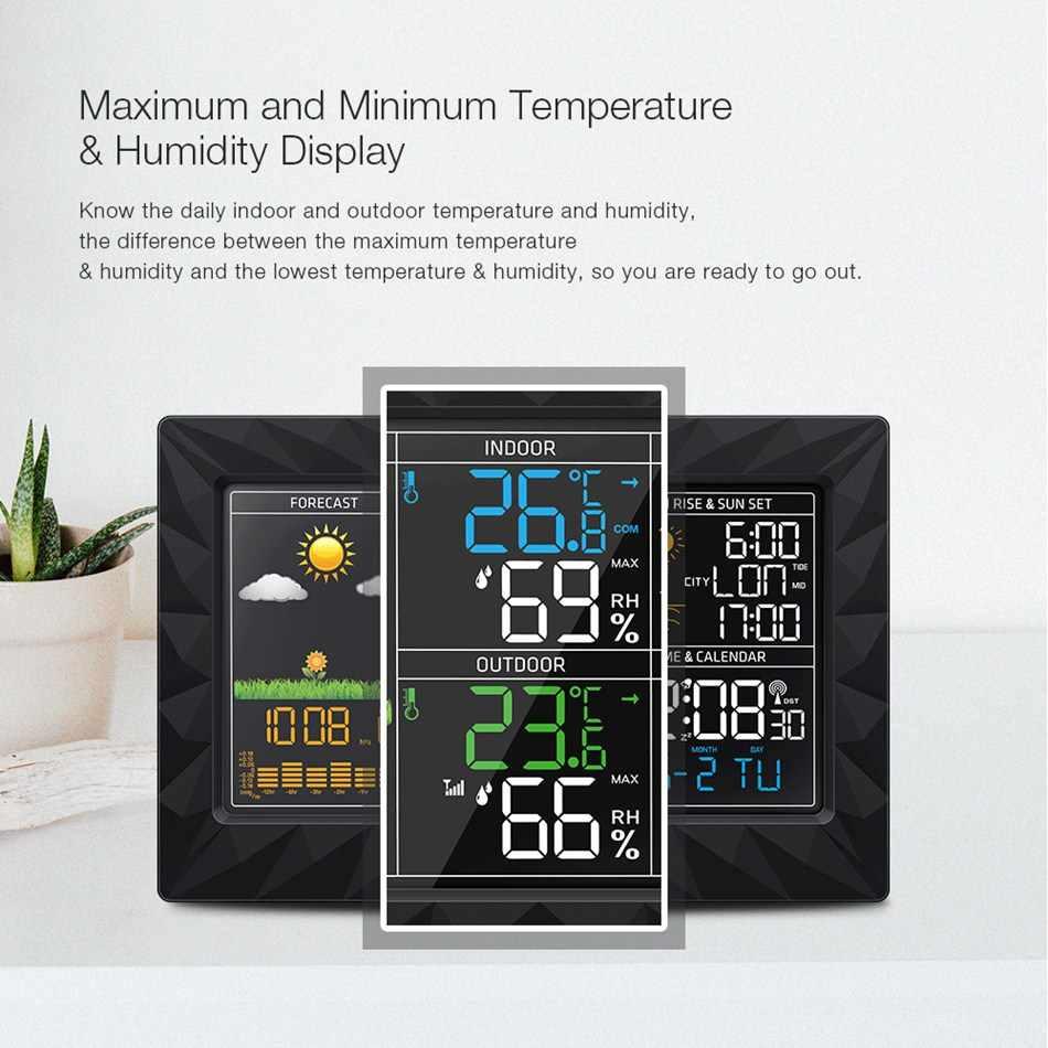 DIGOO DG-TH8988 Цветовая Метеостанция + открытый Дистанционный датчик термометр гигрометр Будильник-часы Sunrise Sunset display