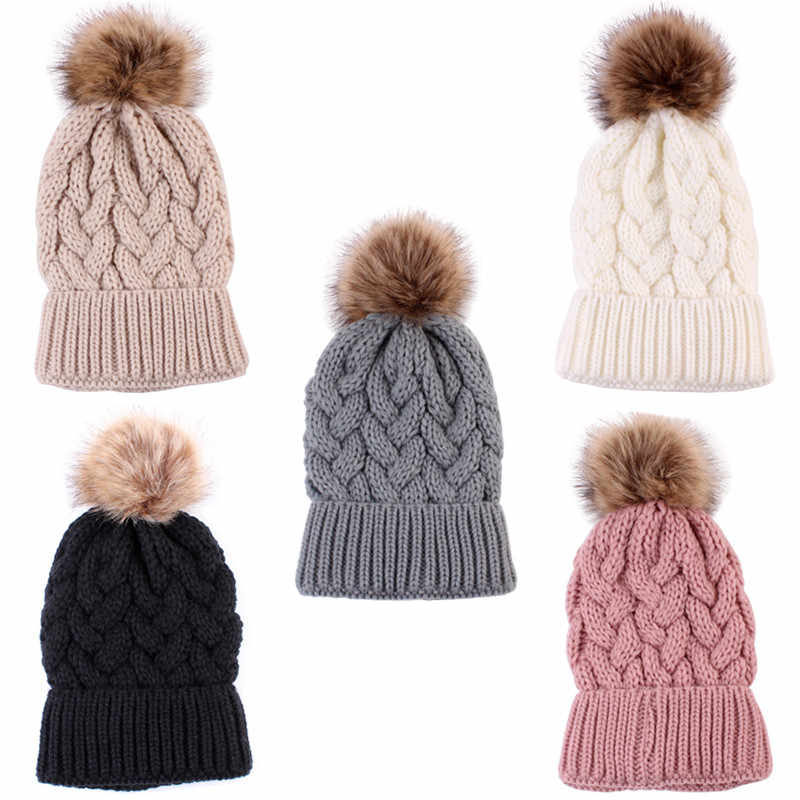 Mother Daughter Son Baby  Winter Warm Knit Hat Family Crochet Beanie  Hats  Caps
