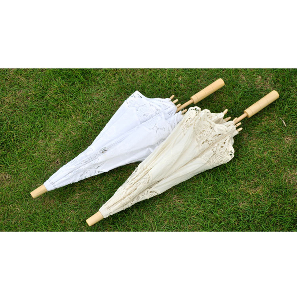 Image 5 - Bridal Wedding Umbrella Lace Cotton Embroidery Handmade Parasol Umbrella For Wedding Romantic Photo Props L Size 60cmBridal Umbrellas   -