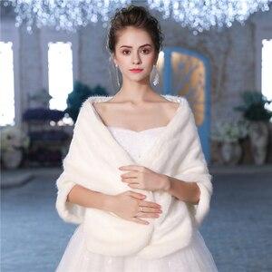 Image 4 - Новая теплая шаль из искусственного меха, зимняя накидка для свадьбы, аксессуары для невесты, модная женская меховая шаль, куртка ручной работы