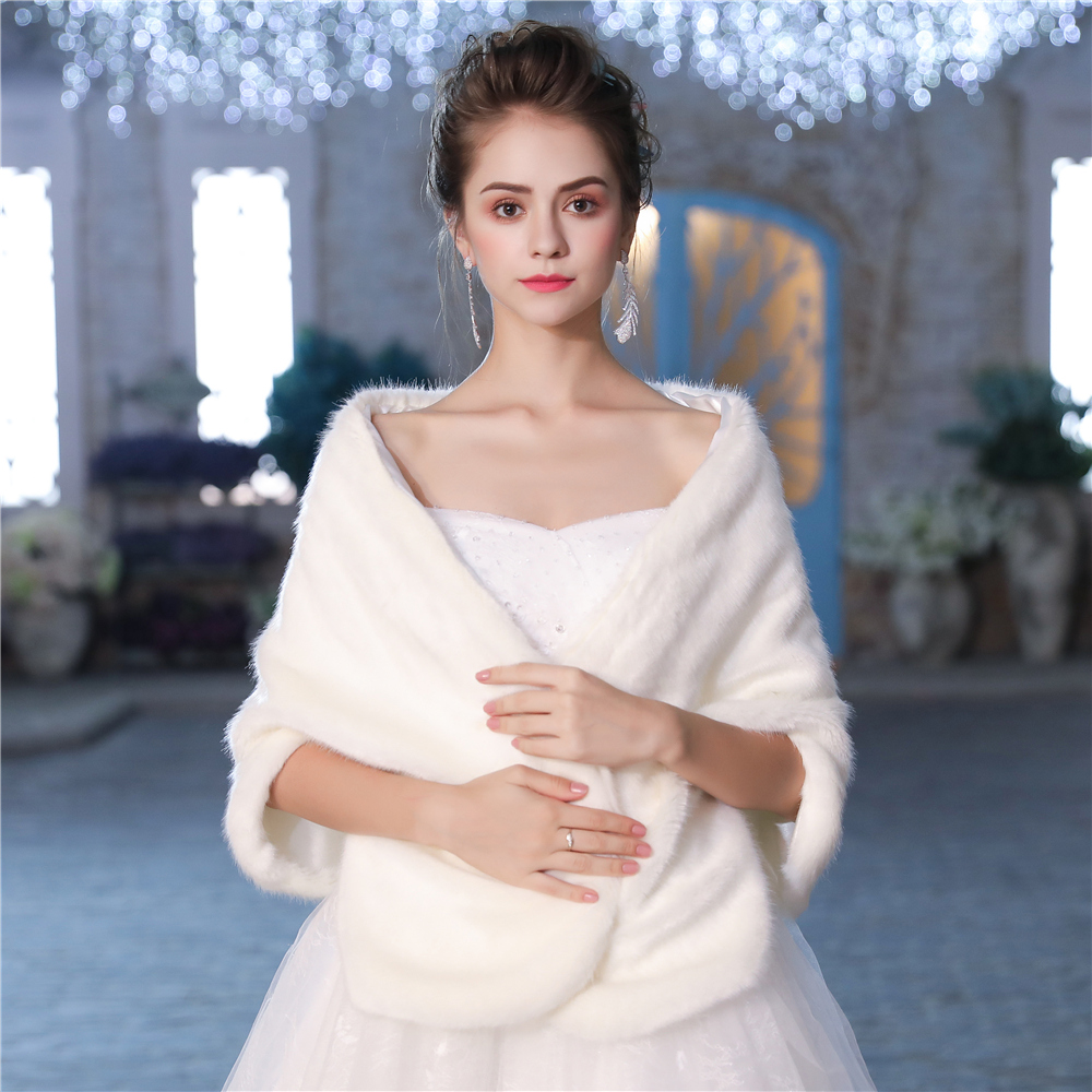 New Faux Fur Wrap Warm Large Shawl Winter Wedding Cover Up Stole Bridal Accessories Fashion Women Fur Shrug Jacket Handmade