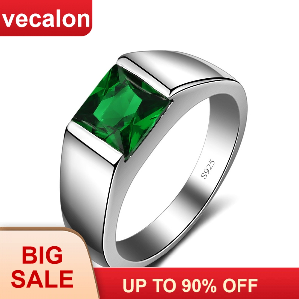 Vecalon Belas Verde Birthstone anéis Dos Homens do corte Da Princesa 3ct 5A Zircon Cz 925 sterling silver Engagement wedding Band anel para homens