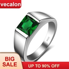Vecalon Belas Verde Birthstone anéis Dos Homens do corte Da Princesa 3ct 5A Zircon Cz 925 sterling silver Engagement wedding Band anel para homens(China)