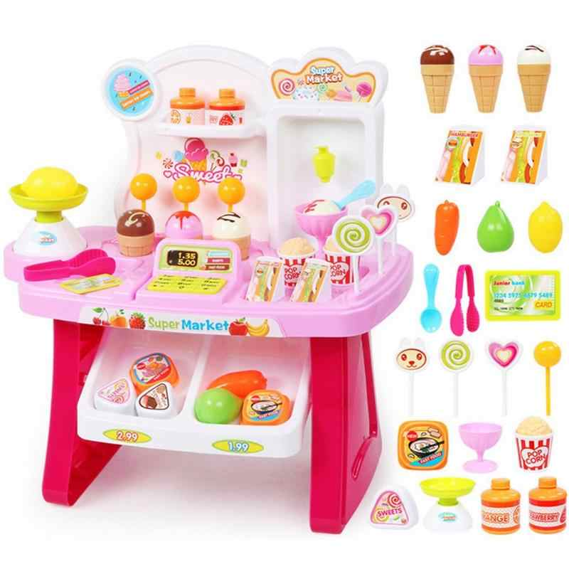 New Children's Multi-Functional Supermarket Cashier Ice Cream Cart Ice Cream Shopping Cart Sales Desk Play House Toys